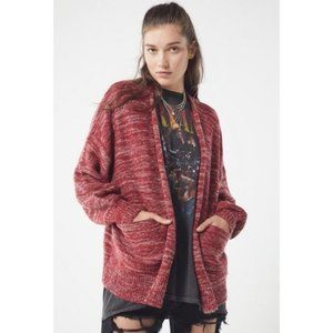 UO Colie Open Front Oversized Wine Cardigan XS